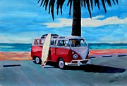 Ocean Art. Beach Decor Originals - The Red Volkswagen Surf Bus by M Bleichner