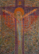 Crucifix Art Painting Metal Prints - The Redeemer Metal Print by Adel Nemeth
