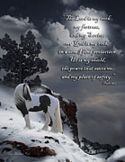 Equine Digital Art Posters - The Rock with verse Poster by Terry Kirkland Cook