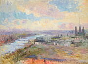 Impressionistic Oil Paintings - The Seine at Rouen by Albert Charles Lebourg