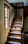 Wooden Building Posters - The Stairs Poster by Karol  Livote