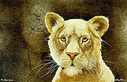 Lioness Painting Prints - The Stone Lion... Print by Will Bullas