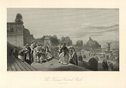 19th Century America Drawings Posters - The Terrace at Central Park 1872 Engraving with border Poster by Antique Engravings