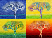 Icon Mixed Media - The Tree 4 Seasons - Painterly - Abstract - Fractal Art by Andee Photography
