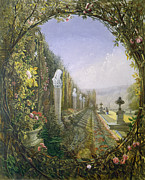 Balustrade Posters - The Trellis Window Trengtham Hall Gardens Poster by E Adveno Brooke