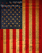 4th Of July Digital Art Posters - The United States Declaration of Independence And The American Flag 20130215 Poster by Wingsdomain Art and Photography