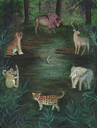 Educational Painting Metal Prints - The Watering Hole Metal Print by L T Sparrow