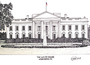 Washington Dc Drawings - The White House by Frederic Kohli