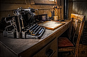 Typewriters Photos - The Writers Desk by Debra and Dave Vanderlaan