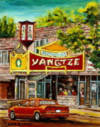 Streetscenes Painting Framed Prints - The Yangtze Restaurant On Van Horne Avenue Montreal  Framed Print by Carole Spandau