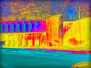 Sensing Digital Art - Thermogram Abstract of Train Bridge by Deborah Fay