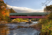 Autumn Scenes Metal Prints - Thompson Covered Bridge 2 Metal Print by Joann Vitali