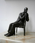 Realism Sculpture Metal Prints - Thoughtful man Metal Print by Nikola Litchkov