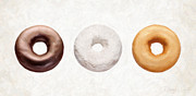Donut Framed Prints - Three Donuts  Framed Print by Danny Smythe