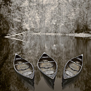 Sepia White Nature Landscapes Posters - Three Old Canoes Poster by Debra and Dave Vanderlaan