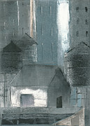 Printmaking Mixed Media - Three Watertowers Blue and Gray by Steve Dininno