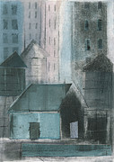 Printmaking Mixed Media - Three Watertowers Blue and Pink by Steve Dininno