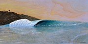 Surf Art Reliefs Posters - Thunder at the Break of Dawn Poster by Nathan Ledyard
