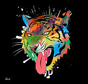 The Tiger Digital Art Metal Prints - Tiger Vector  Metal Print by Mark Ashkenazi