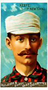 Baseball Art Framed Prints - Tim Keefe New York Metropolitans Baseball Card 0128 Framed Print by Wingsdomain Art and Photography