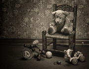 Sad Posters - Time Out - a teddy bear still life Poster by Tom Mc Nemar