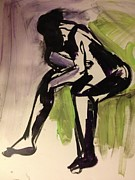 Action Drawings Originals - Time Passes .. Waiting by Elaine Schloss