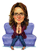 Caricatures Paintings - Tina Fey by Art