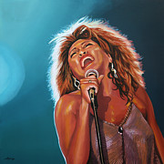 Portrait With Mountain Prints - Tina Turner 3 Print by Paul  Meijering