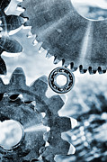 Stainless Steel Prints - Titanium And Steel Gears And Cogs Print by Christian Lagereek
