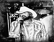 Oklahoma University Prints - Toby Keith - Poster - Tornado Relief Concert- Black and White  Print by Carolyn Pettijohn