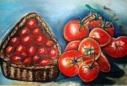 Tomatos Painting Metal Prints - Tomatos Tomatas Metal Print by Otis Zeon