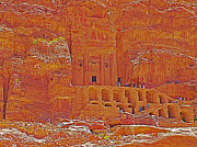 Tombs Digital Art - Tombs of the Kings in Petra-Jordan by Ruth Hager