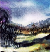 Sun Rays Painting Prints - Towards the misty bogland  Print by Trudi Doyle