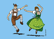 Germany Posters - Traditional Bavarian Couple Dancing Poster by Frank Ramspott
