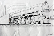 Pen And Ink Drawing Drawings - Train 4 6 6 4 by Fred Miller