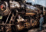 Blue Framed Prints - Train - Engine -  Now boarding Framed Print by Mike Savad