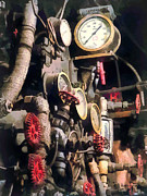 Steampunk Posters - Trains - Inside Cab of Steam Locomotive Poster by Susan Savad