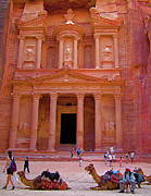 Jordan Trail Framed Prints - Treasury in Afternoon Sun of Petra-Jordan Framed Print by Ruth Hager