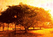 Lamp Post Mixed Media Prints - Tree In The Park Print by Florene Welebny