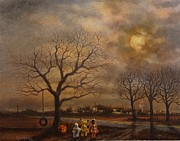 Full Moon Paintings - Trick-or-treat by Tom Shropshire