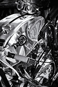 Racer Metal Prints - Triton Cafe Racer Motorcycle Monochrome Metal Print by Tim Gainey