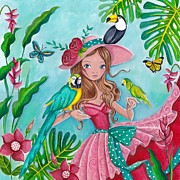 Girls Bedroom Paintings - Tropical Bird Love by Caroline Bonne-Muller