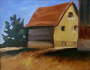 Farm Buildings Painting Originals - Tucked Away by Jo Appleby