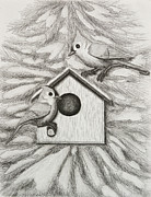 Jeanette Kabat - Tufted Tit Mice with Bird House