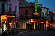 French Signs Art - Tujagues at Night in New Orleans by Kathleen K Parker