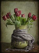 Vase Of Flowers Posters - Tulips in a Wrapped Vase Poster by Terry Rowe