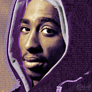 African American Mixed Media Posters - Tupac Shakur and Lyrics Poster by Tony Rubino