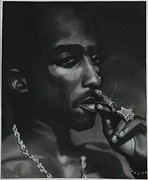 Portraitist Prints - Tupac thoughts Print by Riane Cook