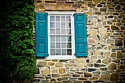 Stone House Framed Prints - Turquoise Shutters  Framed Print by Colleen Kammerer