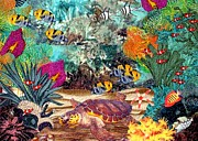 Reef Fish Tapestries - Textiles Posters - Turtle Bay Poster by Jean Baardsen